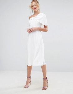 Read more about Asos one shoulder prom midi dress - ivory