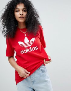 Read more about Adidas originals adicolor trefoil oversized t-shirt in red - red