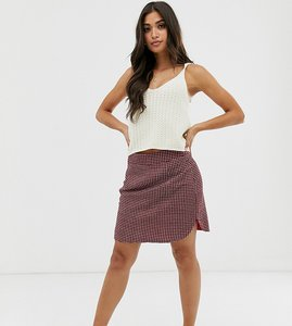 Read more about Glamorous petite mini skirt in check - red printed check