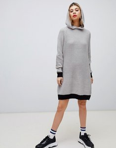 Read more about Noisy may knitted mini hoodie dress in grey with slay slogan back