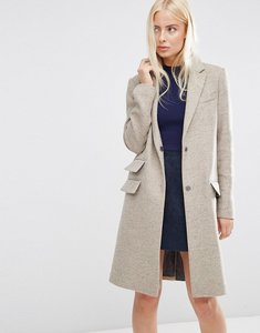 Read more about Asos wool blend slim coat with pocket detail - oatmeal