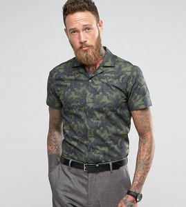 Read more about Noose monkey slim short sleeve revere collar shirt in print - khaki