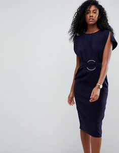 Read more about Asos split sleeve cap sleeve midi dress with circle belt - navy
