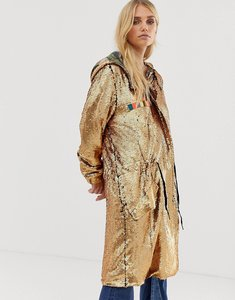 Read more about Native rose oversized festival parka jacket in premium sequin - burnt gold