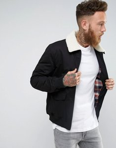 Read more about French connection checked lined harrington jacket with borg collar - black