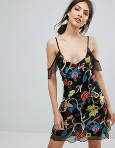 Read more about Missguided premium embroidered mini dress - black
