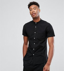 Read more about Asos tall casual stretch slim shirt with grandad collar in black - black