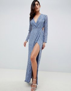 Read more about Asos design wrap front maxi dress in scatter sequin with open back - blue
