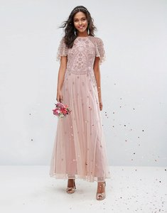 Read more about Asos wedding iridescent delicate beaded flutter sleeve maxi dress - nude
