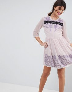 Read more about Asos premium eyelash lace mini dress with embroidery - lilac
