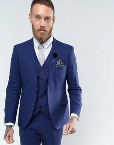 Read more about French connection slim fit linen suit jacket - blue