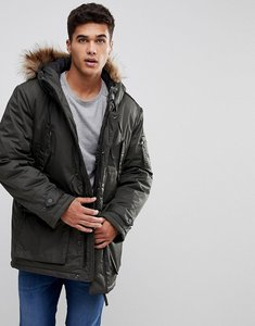Read more about Celio parka with faux fur hood in khaki - khaki