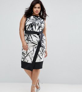 Read more about Coast plus mary wrap skirt printed pencil dress - multi