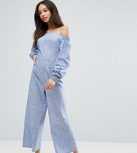 Read more about Asos tall off shoulder jumpsuit in cotton shirting and stripe - blue white