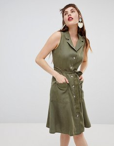 Read more about Mango sleeveless shirt dress in khaki - green