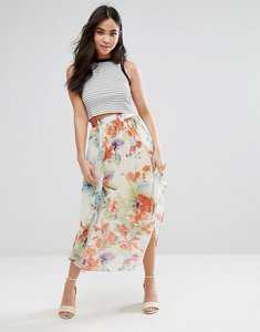 Read more about Orion sarah tropical flower print midi skirt - cream tropical flor