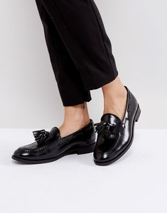 Read more about H by hudson leather tassle loafers - black hi shine