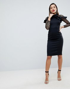 Read more about Asos premium midi pencil dress with mesh and frill details - black