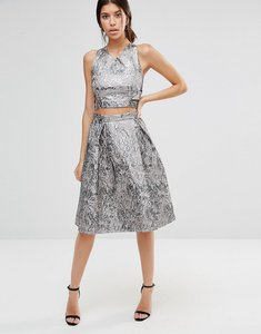 Read more about True decadence metallic midi skirt in jacquard - pewter jacquard