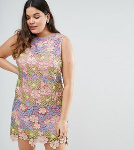 Read more about Asos curve salon 3d lace applique floral mini aline dress - multi
