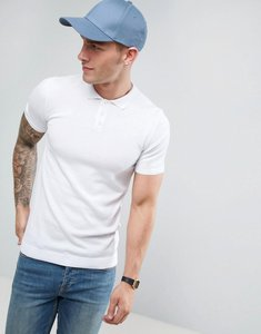 Read more about Asos muscle fit knitted polo shirt in white - white
