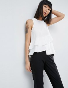 Read more about Asos sleeveless top with ruffle hem - ivory