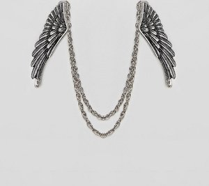 Read more about Asos edition collar tips with wing design - silver
