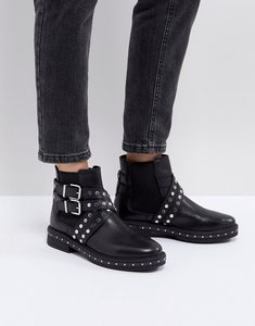Read more about Asos advent premium leather studded biker boots - black leather