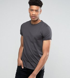Read more about Asos tall t-shirt with crew neck and roll sleeve in black - bal