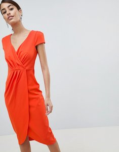 Read more about City goddess bardot wrap over pencil midi dress - orange