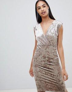 Read more about Rare london velvet wrap midi dress - beige