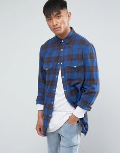 Read more about Asos regular fit super longline check shirt with raw hem - blue