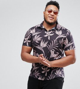 Read more about Asos plus polo shirt with revere collar in floral print - black