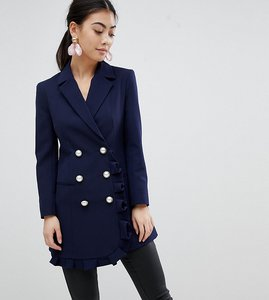 Read more about Asos petite blazer with frill detail - navy