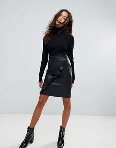 Read more about Vila leather look frill midi skirt - black