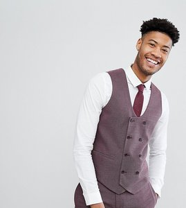 Read more about Asos tall wedding skinny suit waistcoat in damson micro texture - purple