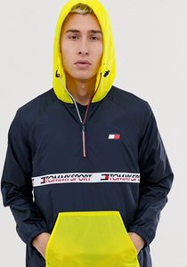 Read more about Tommy sport colour block overhead anorak windbreaker with chest taping in navy yellow