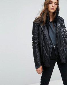 Read more about Goosecraft long line leather biker jacket - black
