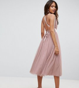Read more about Asos tall premium tulle midi prom dress with ribbon ties - pink