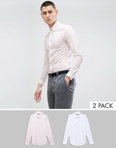 Read more about French connection 2 pack slim fit shirts - white pink