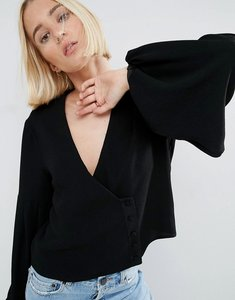 Read more about Asos white top with balloon sleeve - black