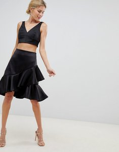 Read more about Closet london premium asymmetric ruffle front skater skirt - black