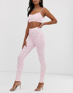Read more about Elsie fred high waisted leggings in pink zebra print co-ord