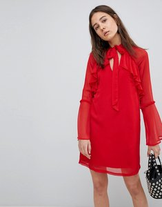 Read more about Neon rose pussy bow ruffle smock dress - red