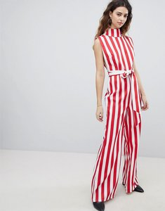 Read more about Unique 21 high neck wide leg jumpsuit in stripe - candy stripe red