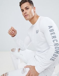 Read more about Abercrombie fitch long sleeve top slim fit legacy print in white - white