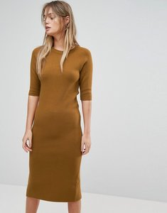 Read more about Selected knitted jumper dress - brown