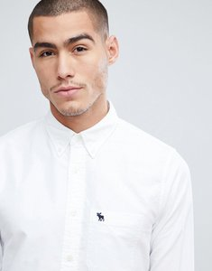 Read more about Abercrombie fitch button down collar slim fit oxford shirt in white - white