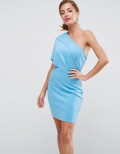 Read more about Asos one shoulder scuba deep fold mini dress with exposed zip - sugar blue
