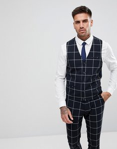 Read more about Asos super skinny suit waistcoat in navy with white windowpane check - navy